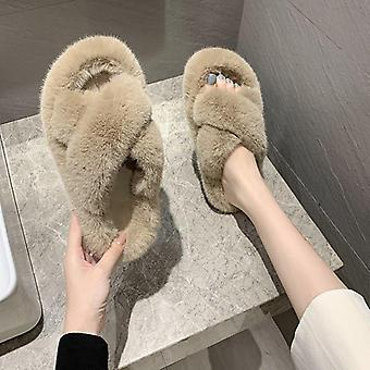 Winter Vrouwen Huis Harige Slippers Fashion Warme Slip-on Flats Slippers
