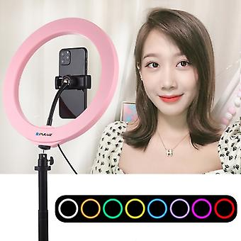 PULUZ 10.2 inch 26cm USB 10 Modes 8 Colors RGBW Dimmable LED Ring Vlogging Photography Video Lights with Cold Shoe Tripod Ball Head & Phone Clamp(Pink