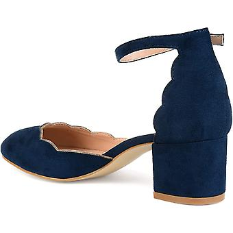 Brinley Co Womens Edsey Faux Suede Ankle Strap Scalloped Pumps
