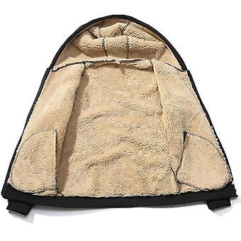 Talvi miehet asettaa lämmin paksu hupullinen takki + housut Miehet Lamb Kashmir Huppari Vetoketju