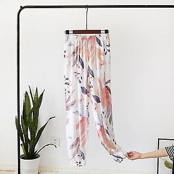 Summer Viscose Rayon Printing Women Pajama Bottoms Elastic Waist Ankle-length
