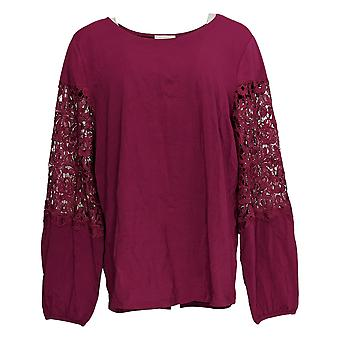 Belle af Kim Gravel Women's Top TripleLuxe Lace Sleeves Pink A369712