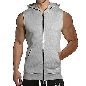 YANGFAN Men's Zip Up Hooded Vest Workout Tank Tops  Fitness Muscle Sleeveless Waistcoat