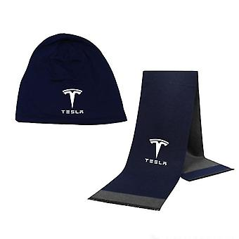 Tesla Car Logo Hat/scarf Solid Color Warm High Quality Cotton Unisex Sports Hat