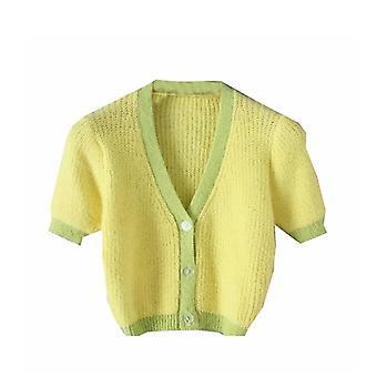 Women Vintage Pink Cardigan Knitted Korean Cardigans Cute Sweater