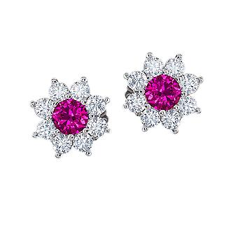 Jewelco London Rhodium Plated Sterling Silver Purple Cubic Zirconia Classic Royal Cluster Stud Earrings
