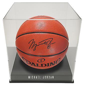 OnDisplay Deluxe Personligt UV-skyddad basket/ fotboll Boll Display Case - Svart Bas