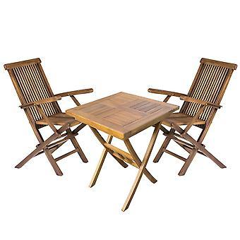 Holz-Quadrat-Garten-Ess-Getränketisch und 2 Outdoor-Klappstühle Bistro-Set