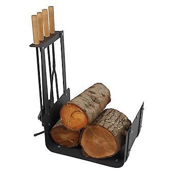 Log Stand Dekodonia Accessories Fireplace Steel (48 x 30 x 62 cm)