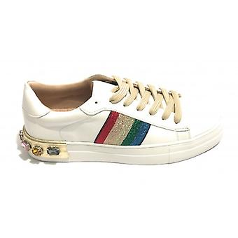Women's Shoes Sneaker Gold&gold Ecopelle White/ Gold With Rhinestones Ds19gg09