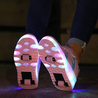 AIkuass Valčekové tenisky Nabíjateľné koleso topánky ako, Ružová, Veľkosť 1,5 Little Kid