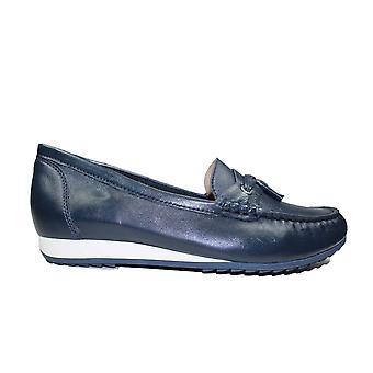 Caprice 24250-855 Navy Läder Kvinnor Slip På Loafer Skor