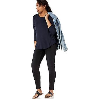 Brand - Daily Ritual Women's Jersey Rib-Trim Drop-Shoulder Scoop-Neck Shirt, Sort-hvid stribe, Stor