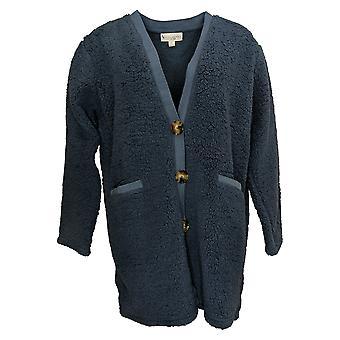 Koolaburra By UGG Women's Sweater Cozy Sherpa Cardigan Plush Blue A386399