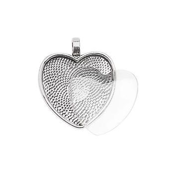 Bezel Vedhæng & Glas Cabochon, Hjerte 25mm, 1 Sæt, Antik sølv forgyldt