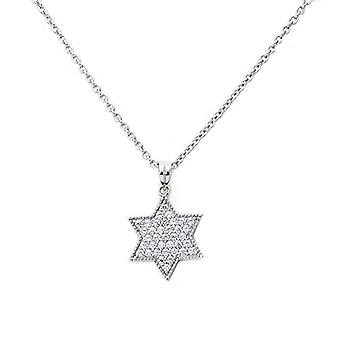 Eye Candy women's necklace in the shape of a star 925 Sterling silver pendant rhodium with 37 white zircons 45 cm ECJ-nl0032