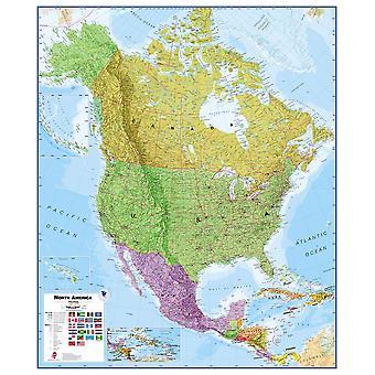 Stor Nordamerika väggkarta politisk (laminerad)
