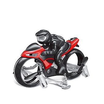 Land Air Fly Kids Motorcycle Headless Mode Remote Control Four axis Drone Racing Stunt Toy(Red)