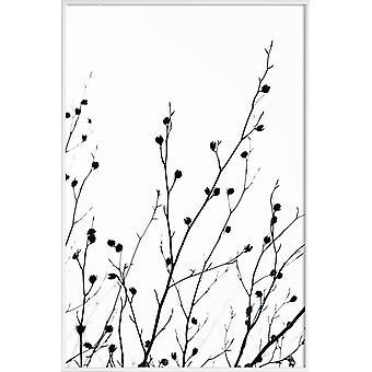 JUNIQE Print -  Winter Silhouettes 2 - Blätter & Pflanzen Poster in Schwarz & Weiß