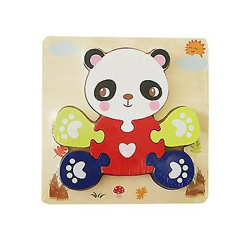 2Pcs panda children's wooden 3d geometric puzzle, baby jigsaw building blocks educational toy az1708
