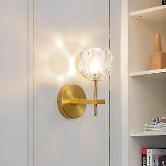 Crystal Golden Simple  Bedroom Bedside  Light Luxury Pure Copper Wall Lamp (not Include Bulb)