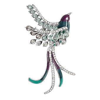 Eternal Collection Bird Of Paradise Multi Coloured Enamel Crystal Silver Tone Brooch