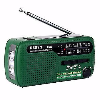 Degen DE13 Přenosný FM MW SW Ruční klikání Dynamo World Receiver Radio Recorder
