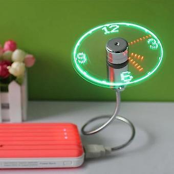 Mini flexible cuello de cisne Led reloj Ventilador USB para PC portátil tiempo pantalla fresco