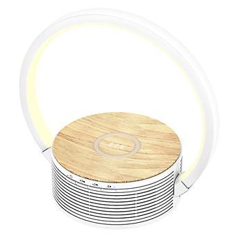 Настольная лампа с беспроводной зарядкой и динамиком 3 в 1 с 3 уровнями интенсивности и беспроводной зарядкой для всех устройств Qi, (белый)