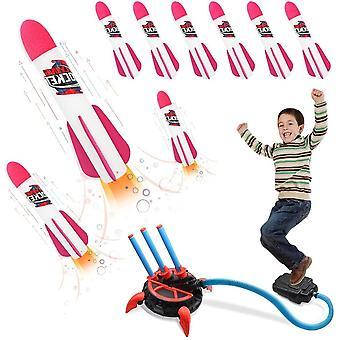 Druckluftrakete Rakete Spielzeug für Kinder Air Rocket Raketenspiel Kinder Spielzeug mit 6