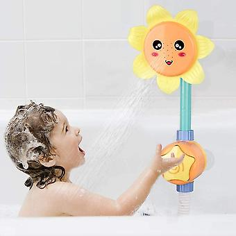 Baby Bath Shower Toy For Toddlers, Battery Operated Sunflower Water Squirt Shower Faucet And Bathtub Water Pump For Infants