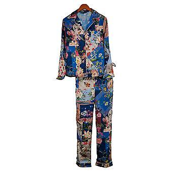 Tolani Kollektion Damen Pyjama Set Blumendruck Blau A390127