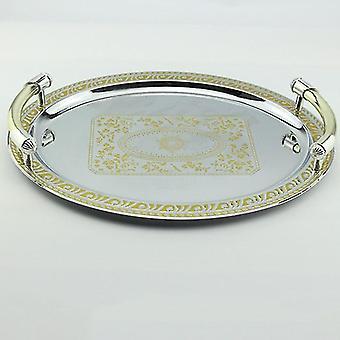 Metalowe przechowywanie taca biżuteria Wystawa Płyta Złoty Deser Ciasto owocowe Platey| Tace do przechowywania