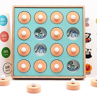 ذاكرة خشبية مطابقة لعبة الشطرنج لوحة للأطفال الصغار، الطفل الأول montessori تعلم لعبة مباريات المباراة