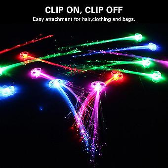 Led Lights Hair, Light-up Fiber Optic Led Hair Barrettes Party Favors For Party, Bar Dancing Hairpin, 12 Pack