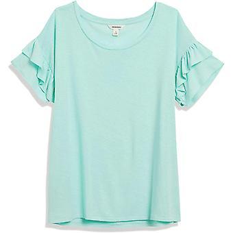 Brand - Goodthreads Women's Linen Modal Jersey Short Sleeve Crewneck Ruffle Sleeve T-Shirt