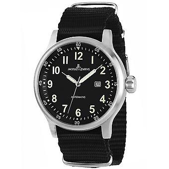 Jacques Lemans Black Textile 1-1723C Reloj de hombre