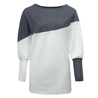 Sweater Long-sleeved T-shirt Loose Plus Size Women's Stitching White