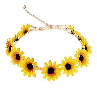 3PCS Floral Herbst Sonnenblume Krone Haar Accessoires Braut Tiara Urlaub Haar mit Sonnenblume Haar
