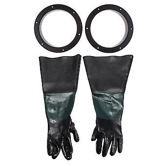 1 Paar robuste 60 cm Handschuhe mit 2 Handschuhhaltern für Sandstrahlschränke