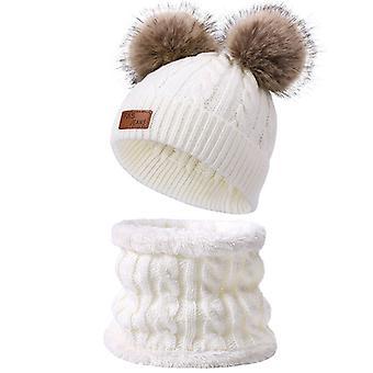 צעיף צמר פעוט וכובע סט חורף מעוות כפול פונפון סרוג כובע ורוד