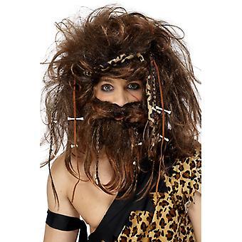 Primitive man set wig beard bone stone age costume
