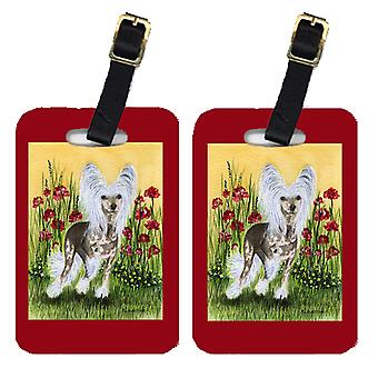 Carolines Treasures  SS8185BT Pair of 2 Chinese Crested Luggage Tags