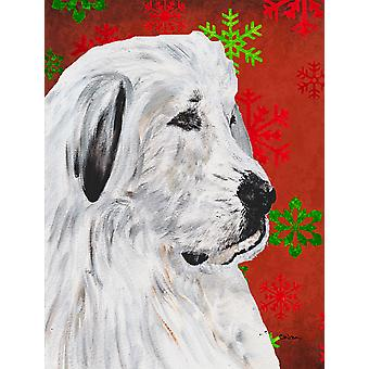 Great Pyrenees Red Snowflakes Holiday Flag Canvas House Size