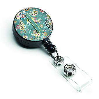 Letter I Circle Circle Teal Initial Alphabet Retractable Badge Reel