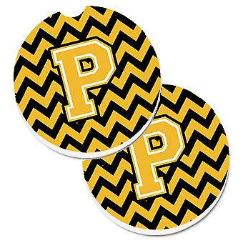 Letter P Chevron Black and Gold Set of 2 Cup Holder Car Coasters