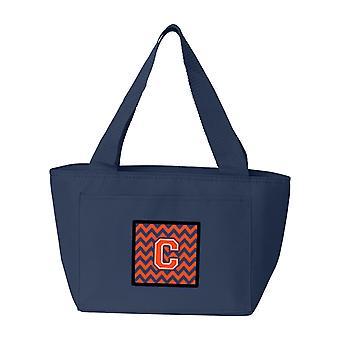 Carolines Treasures  CJ1042-CNA-8808 Letter C Chevron Orange and Blue Lunch Bag