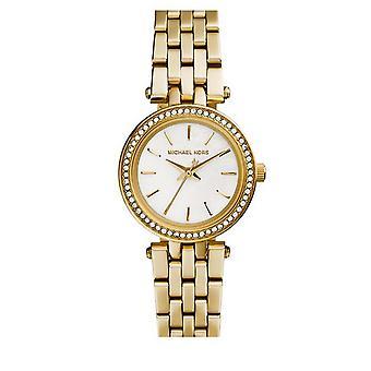 Michael Kors Damen Darci Petite Wrist Watch Goldarmband weißes Gesicht MK3325