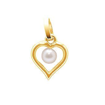 Hänge kvinna C? din i gult guld 750/1000 och kultur 4 mm Freshwater Pearl