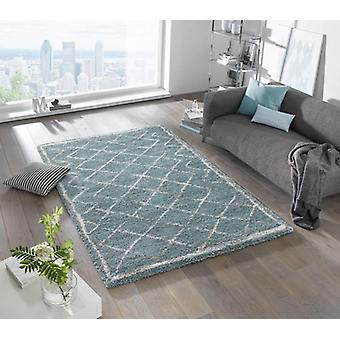 Design cut pile carpet deep pile loft Blau cream